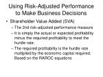 using risk adjusted performance to make business decisions16