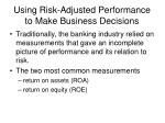 using risk adjusted performance to make business decisions2