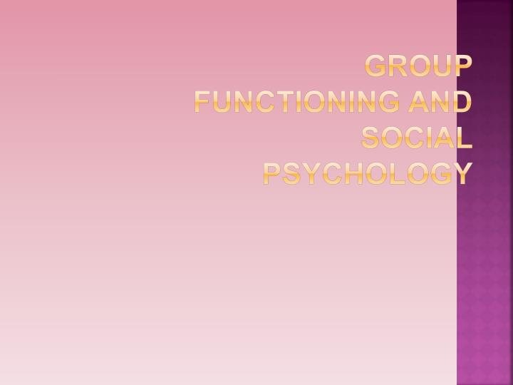 group functioning and social psychology n.
