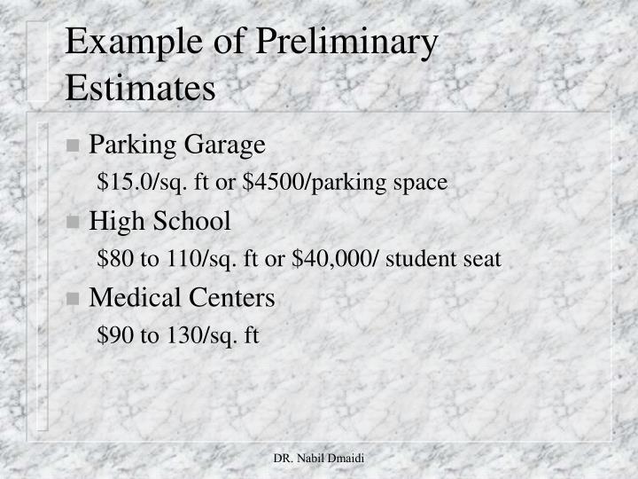 Example of Preliminary Estimates
