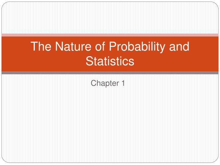 the nature of probability and statistics n.