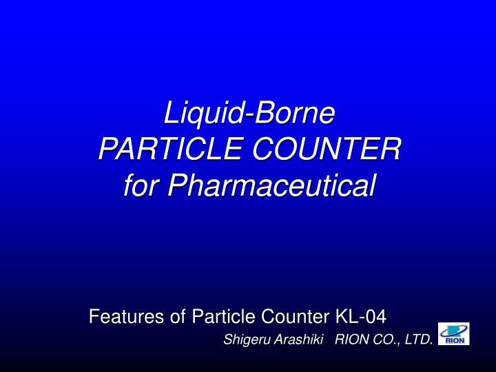 liquid borne particle counter for pharmaceutical n.