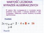 warto liczbowa wyra e algebraicznych
