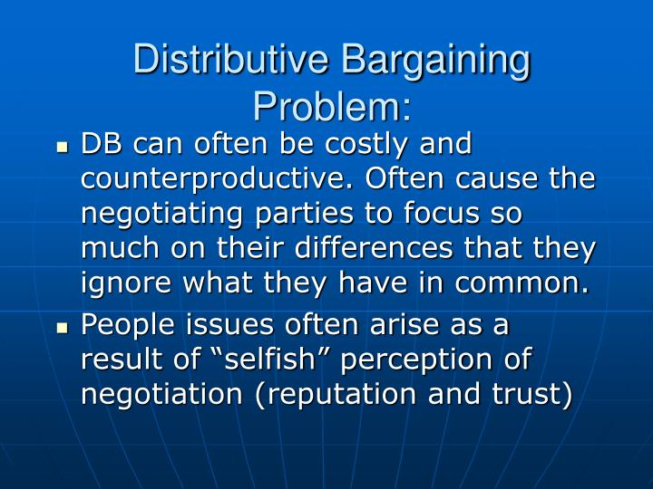 Distributive Bargaining Problem: