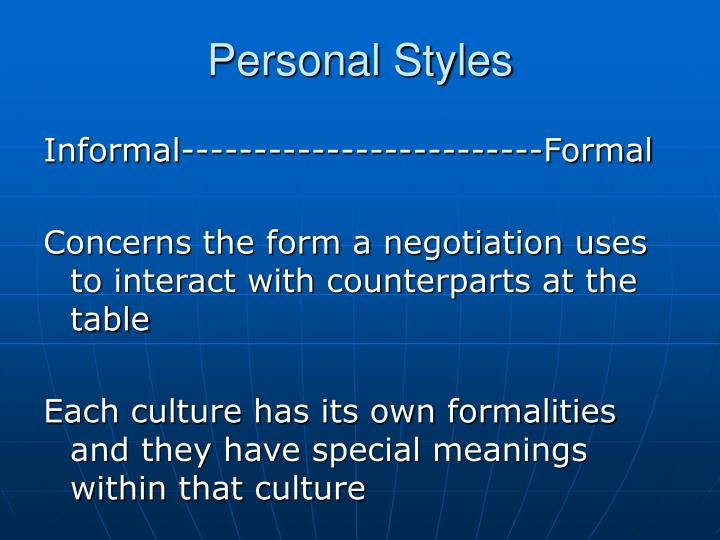 Personal Styles