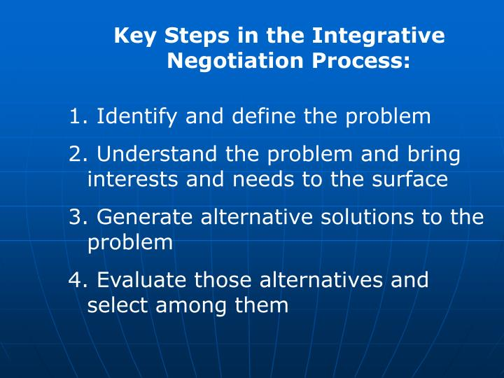 Key Steps in the Integrative Negotiation Process:
