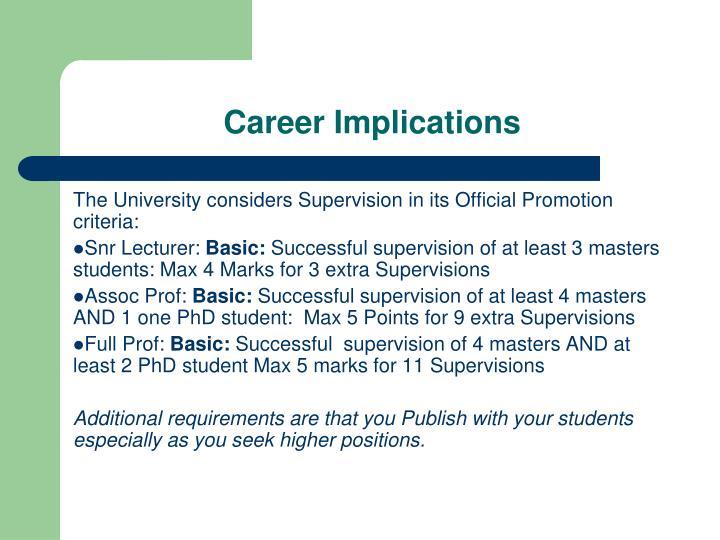 Career Implications