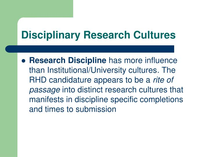 Disciplinary Research Cultures