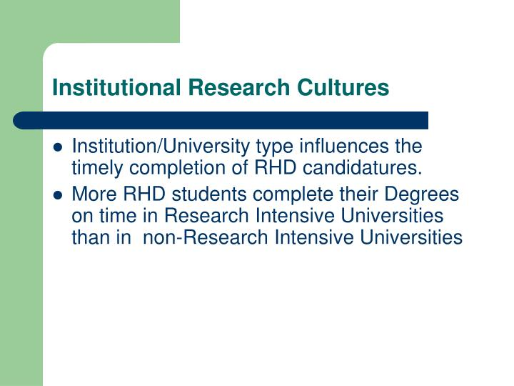 Institutional Research Cultures
