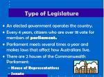 type of legislature