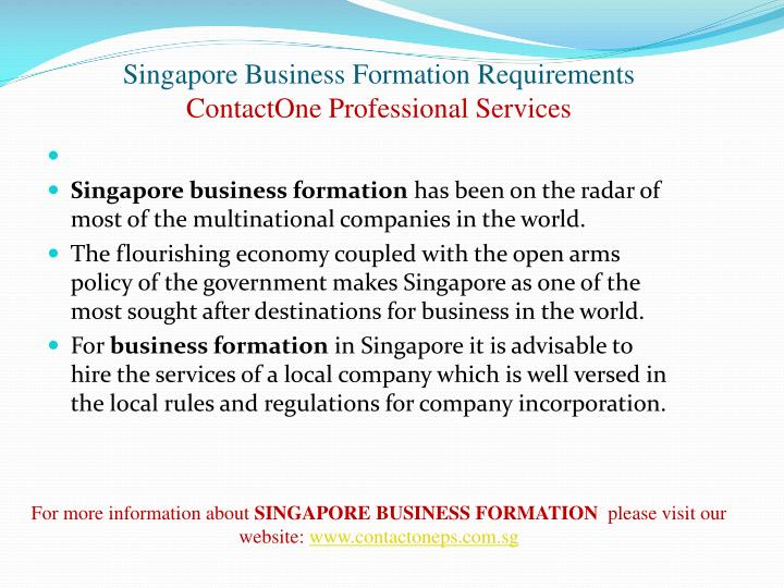Singapore business formation requirements contactone professional services