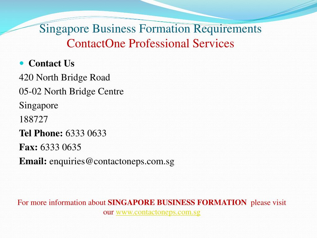 Singapore Business Formation Requirements