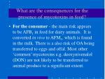 what are the consequences for the presence of mycotoxins in feed