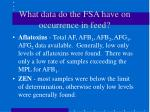 what data do the fsa have on occurrence in feed1