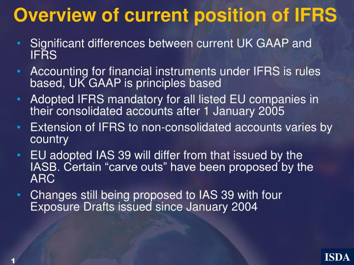 Overview of current position of ifrs