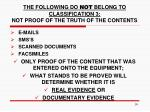 the following do not belong to classification 3 not proof of the truth of the contents