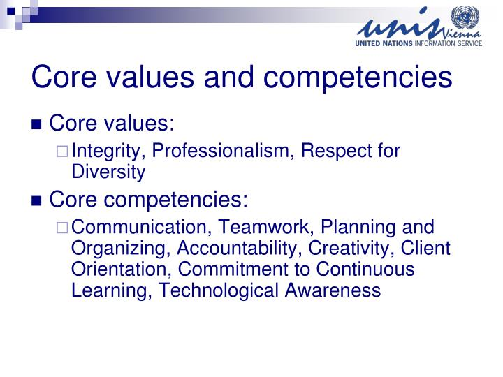 core competencies and the planning and