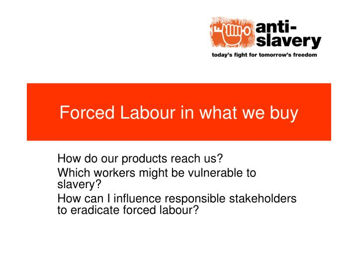 forced labour in what we buy n.