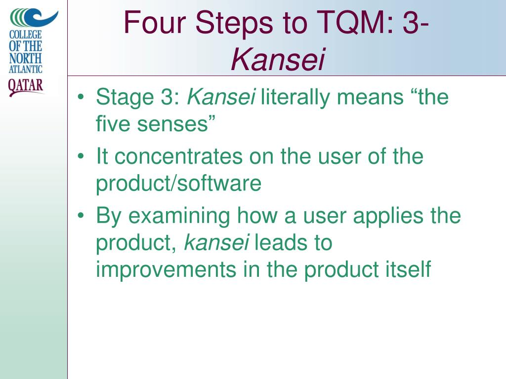 Four Steps to TQM: 3-