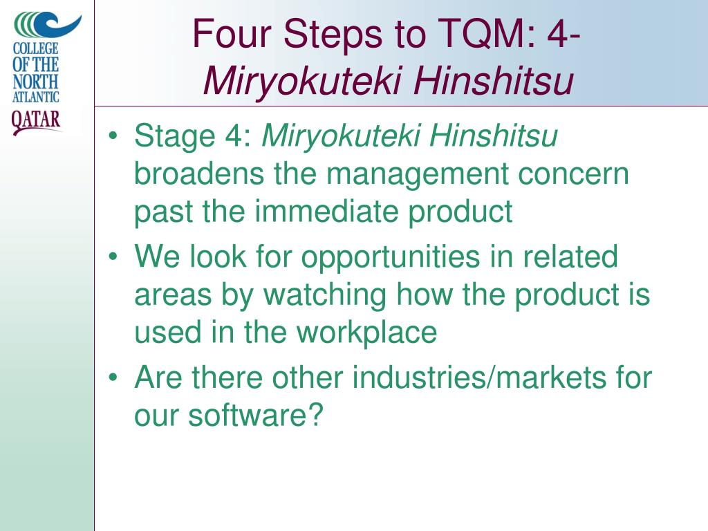 Four Steps to TQM: 4-