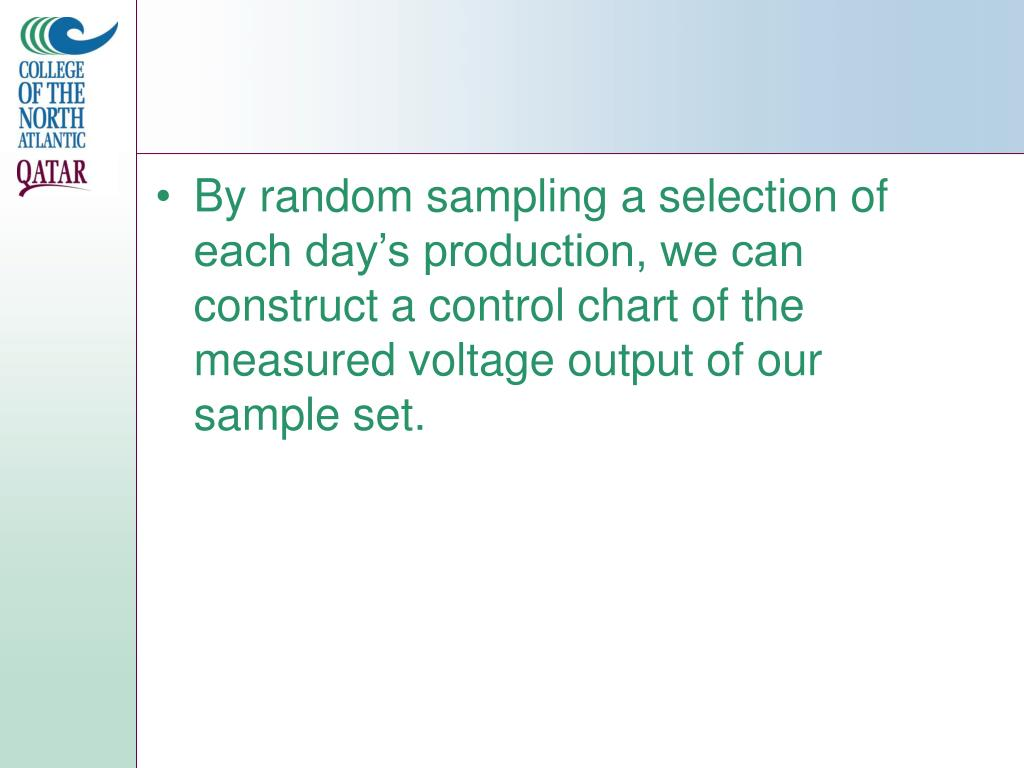 By random sampling a selection of each day's production, we can construct a control chart of the measured voltage output of our sample set.