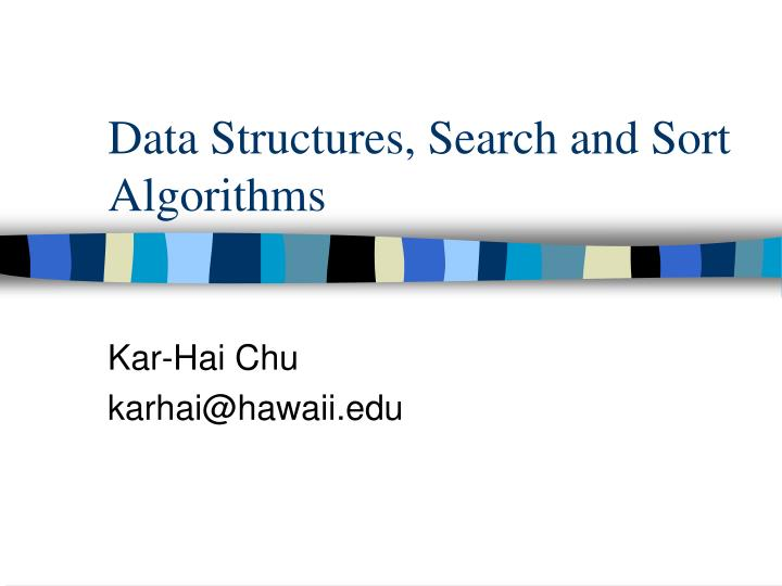 data structures search and sort algorithms n.