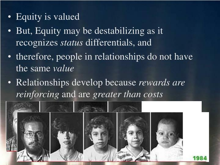 Equity is valued