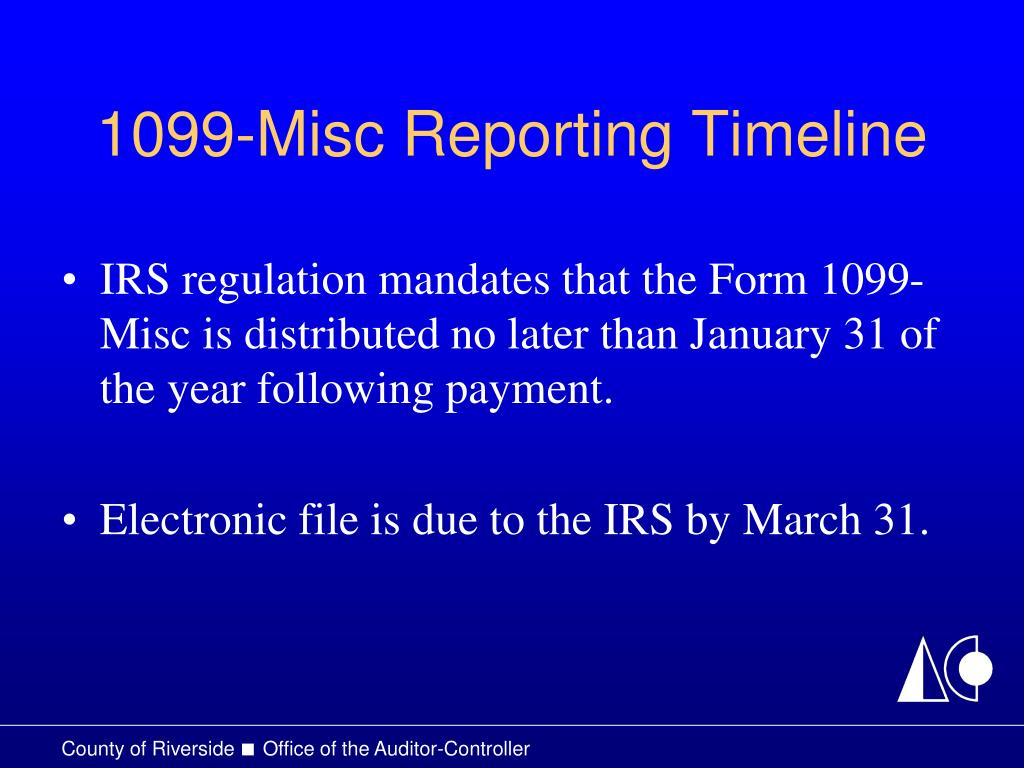 1099-Misc Reporting Timeline