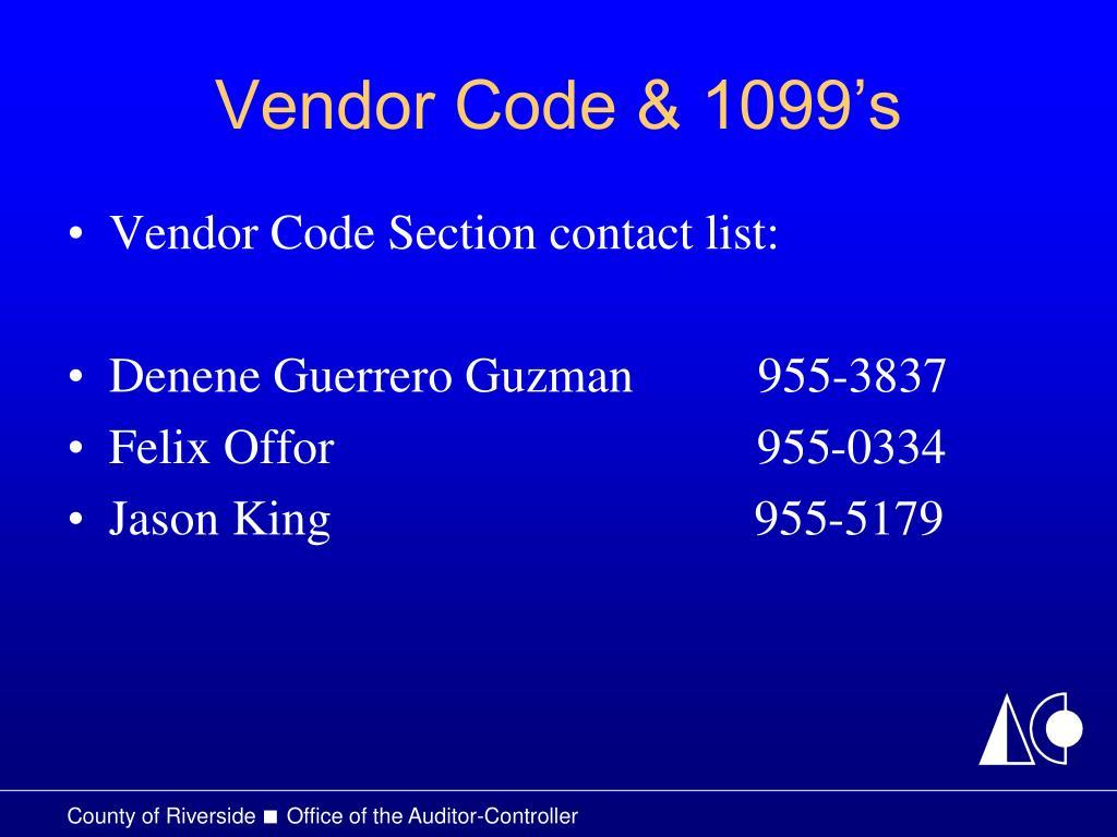 Vendor Code & 1099's