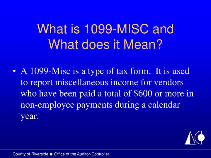 What is 1099 misc and what does it mean