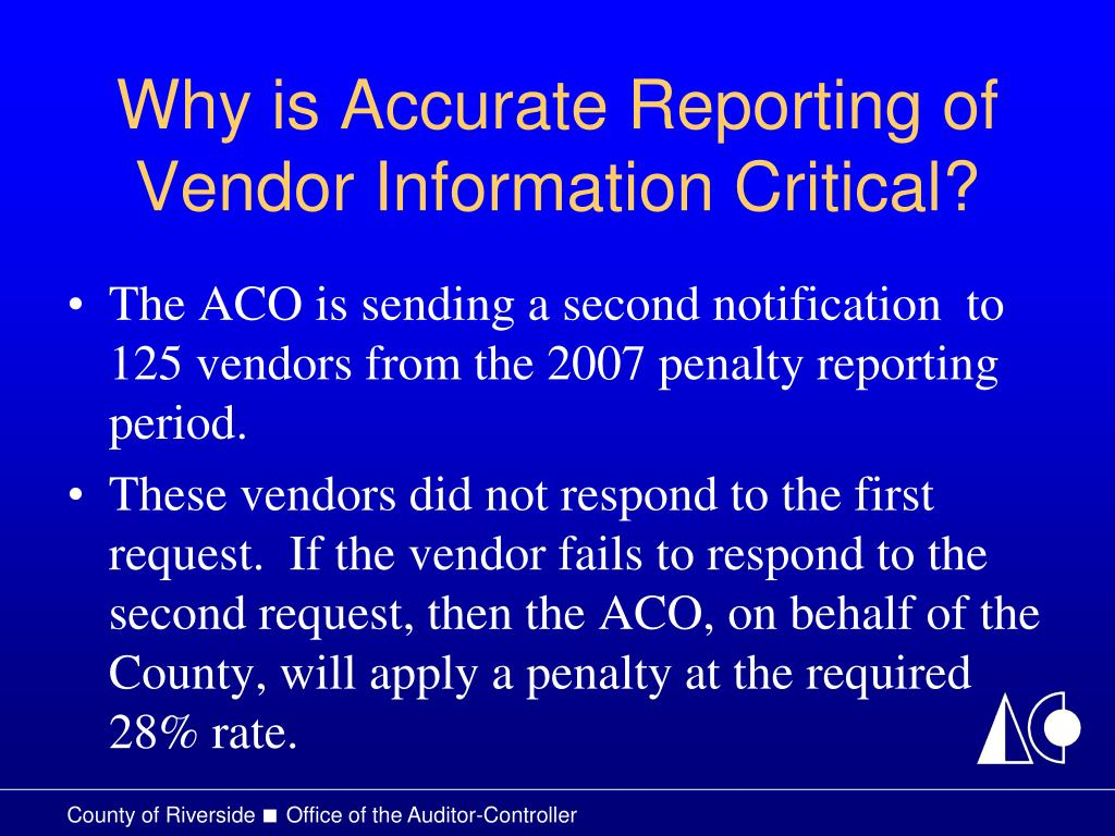 Why is Accurate Reporting of Vendor Information Critical?