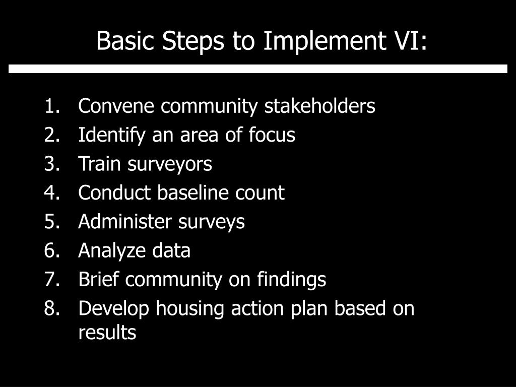 Basic Steps to Implement VI: