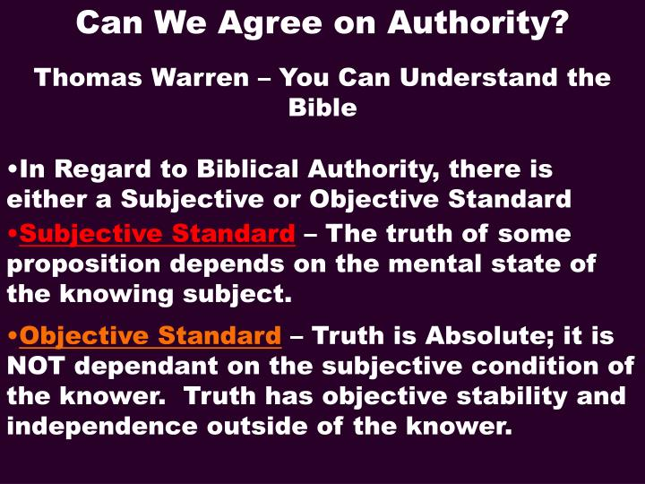 Can We Agree on Authority?
