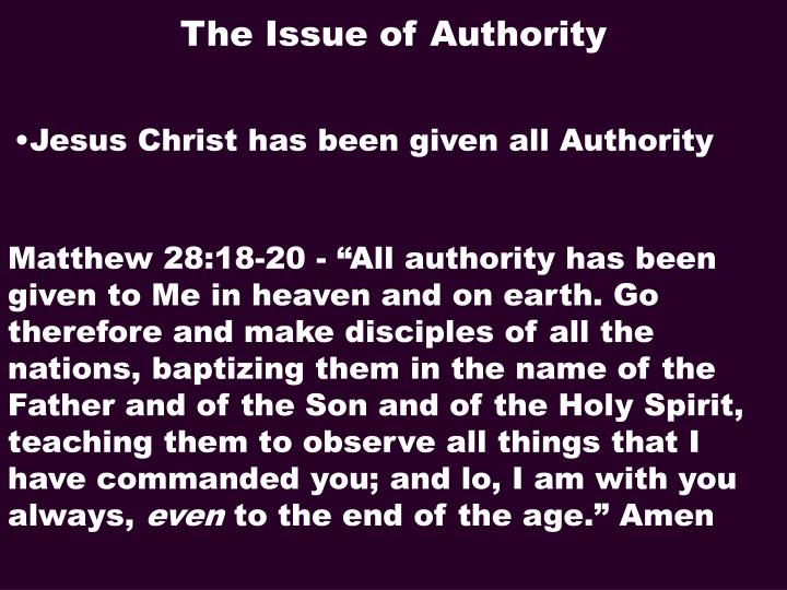 The Issue of Authority