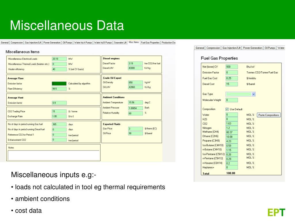 Miscellaneous Data