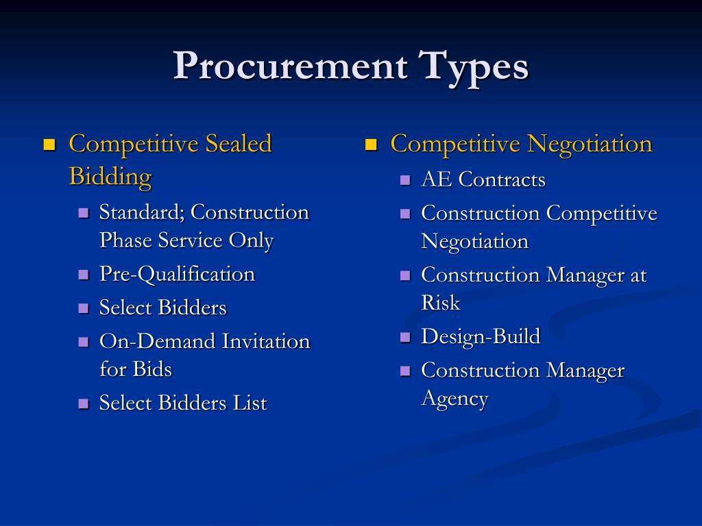 PPT - Procurement Types PowerPoint Presentation - ID:1379569