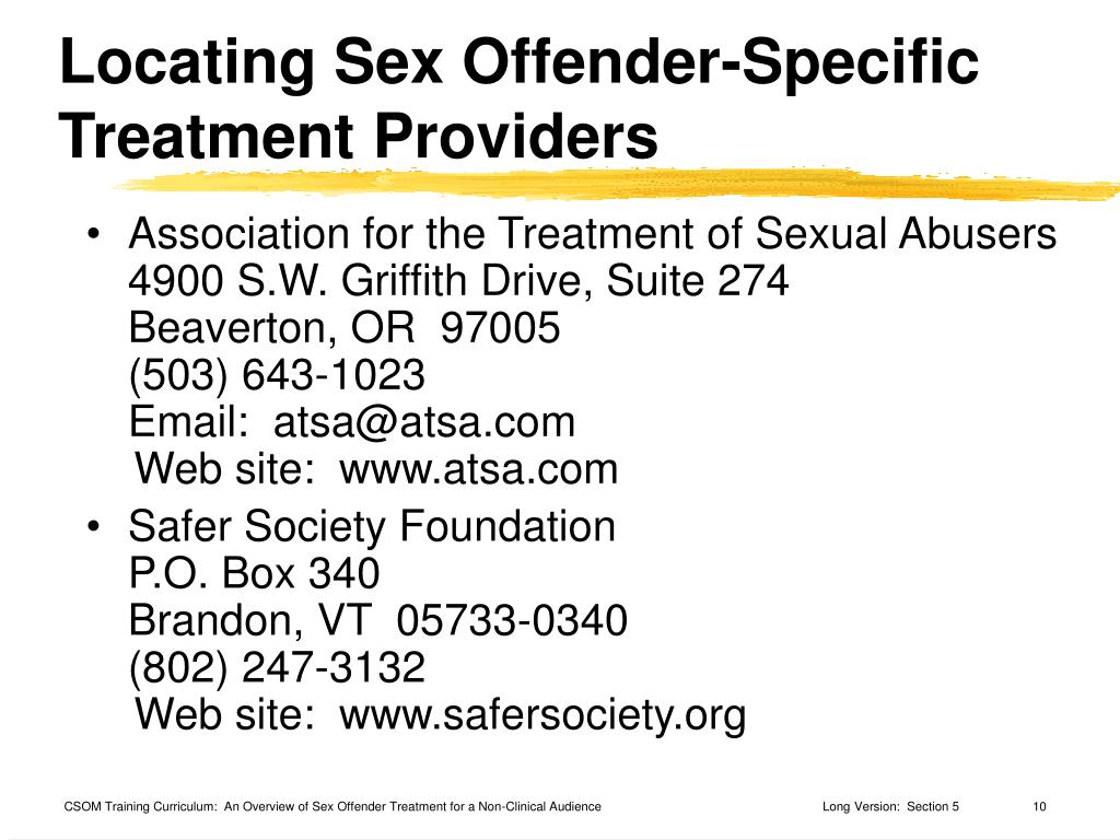 Locating Sex Offender-Specific Treatment Providers