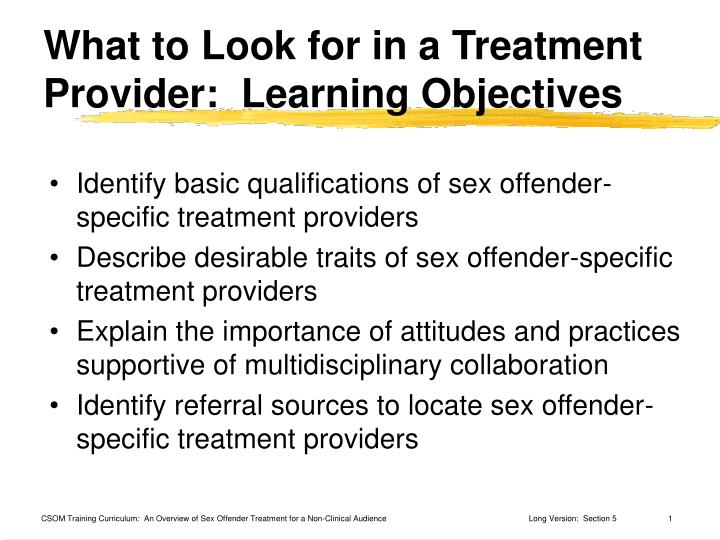 What to look for in a treatment provider learning objectives