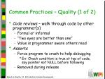 common practices quality 1 of 2