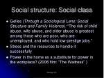 social structure social class