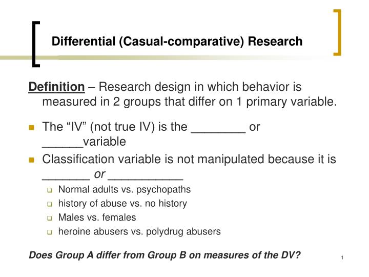 Differential casual comparative research