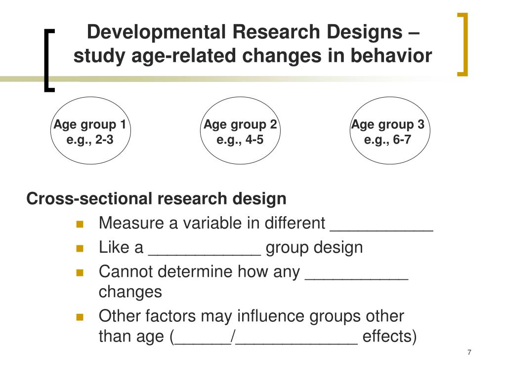 Developmental Research Designs – study age-related changes in behavior