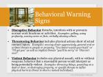 behavioral warning signs