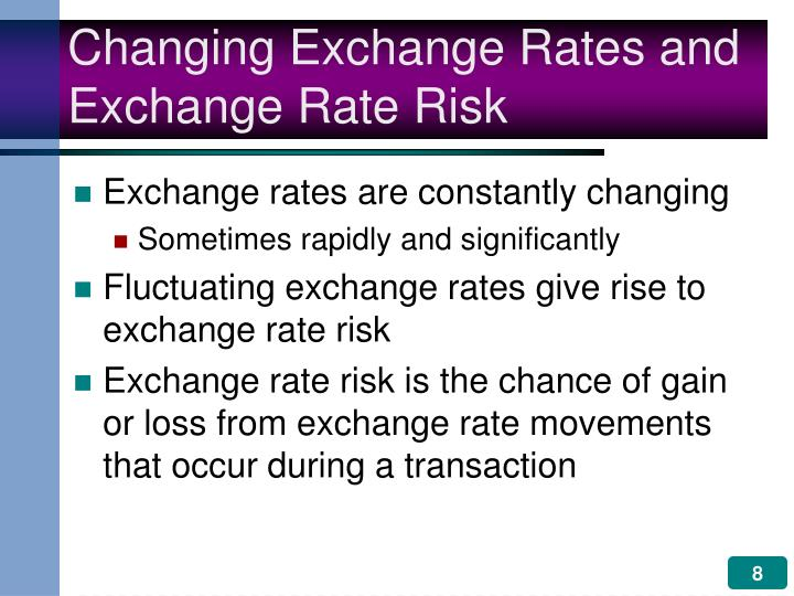 factors that contribute to exchange rate risks An interest rate is the amount received in relation to an amount loaned, generally expressed as a ratio of dollars received per hundred dollars lent however, a distinction should be made between specific interest rates and interest rates in general.