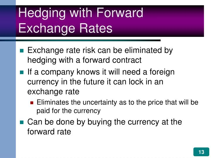 Hedging with Forward Exchange Rates