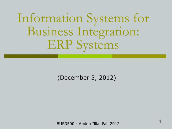 information systems for business integration erp systems n.