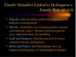 family variables linked to delinquency family role models