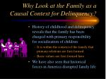 why look at the family as a causal context for delinquency