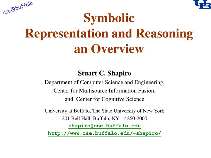 symbolic representation and reasoning an overview n.