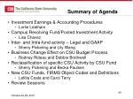 summary of agenda